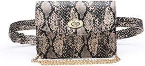 Ari Python Embossed Leather Belt Bag